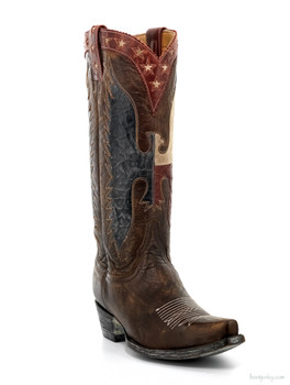 "L1820-3-SS OLD GRINGO WHERE EAGLES FLY BUG 13"" BRASS/BLUE/RED/BONE COWGIRL BOOTS"