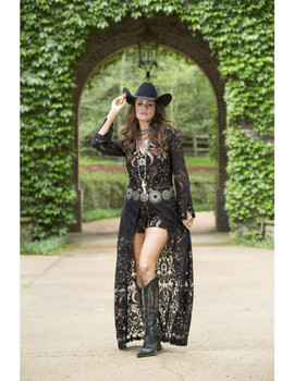 08. BRONTE COLLECTION HARLO BLACK LACE JUMPER DUSTER COMBO