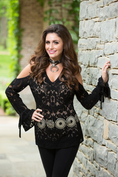 BRONTE BRAELYN BLACK LACE ROMANTIC TUNIC TOP