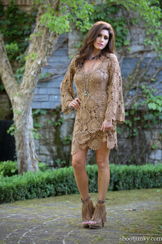 27. BRONTE COLLECTION KARMA TAUPE OPEN LACE ROMANTIC COWGIRL DRESS