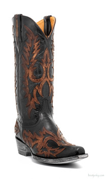 "L2028-5-SS OLD GRINGO VIRGINA 13"" BLACK / BRASS LEATHER INLAY COWGIRL BOOT"