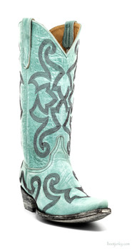 "L2040-3-SS OLD GRINGO THORA STITCHED 13"" AQUA COWGIRL BOOTS"