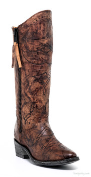 L2196-1-SS OLD GRINGO DULCE BROWN SWAROVSKI CRYSTAL LEATHER COWGIRL BOOTS