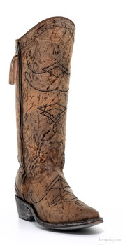 L2196-2-SS OLD GRINGO DULCE BROWN SWAROVSKI CRYSTAL LEATHER COWGIRL BOOTS