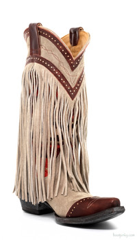 "L2257-1-SS OLD GRINGO CRUDGE 13"" BONE / RED LEATHER FRINGE COWGIRL BOOTS"