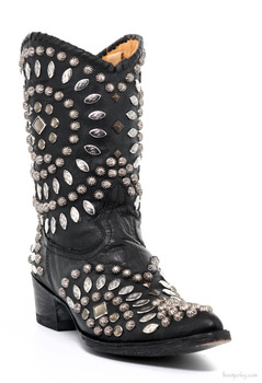 "L 930-1-RR OLD GRINGO TINO TINO BLACK STUDDED 10"" COWGIRL BOOTS"