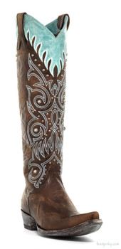 """L2633-1 MARSELL STITCHED 18"""" BRASS/BLUE COWGIRL BOOTS"""
