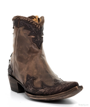BL 473-3 OLD GRINGO VENICE CHOCOLATE HAND TOOLED ANKLE BOOTS