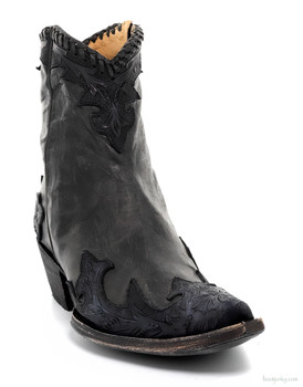 BL 473-5 OLD GRINGO VENICE BLACK HAND TOOLED ANKLE BOOTS