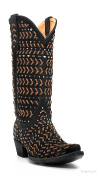 "L2390-2-SS OLD GRINGO TEMANCHAS 13"" BRAIDED BLACK SUEDE COWGIRL BOOTS"