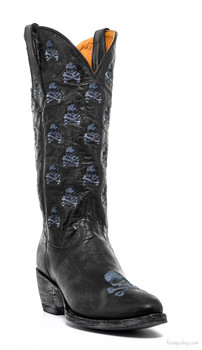 "L2470-1-SS OLD GRINGO SKULL AND BONES 13"" BLACK EMBROIDERED COWGIRL BOOTS"