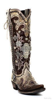 DDL001-2 DOUBLE D RANCH CHOCOLATE BRASS AMMUNITION COWGIRL BOOTS