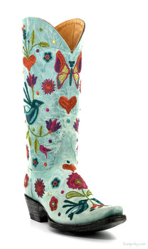 "L2476-5-SS OLD GRINGO PAJARO 13"" AQUA EMBROIDERED COWGIRL BOOTS"