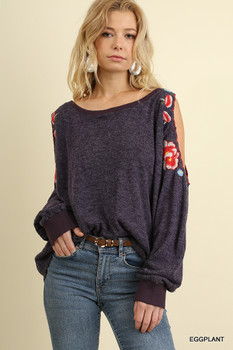 C0863 UMGEE Bohemian Cowgirl Open Shoulder Tunic Top With Floral Embroidery