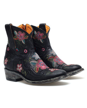 "L 936-2 OLD GRINGO BONNIE ZIPPER FLORAL BLACK 8"" ANKLE BOOTS CUSTOM ORDER"