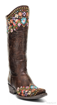 "L2482-1-SS OLD GRINGO AMELIA 13"" BRASS EMBROIDERED COWGIRL BOOTS"