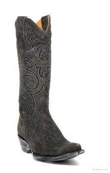 "L2646-6-SS OLD GRINGO MARSELL CRYSTAL 13"" CARBON SUEDE LEATHER COWGIRL BOOTS"
