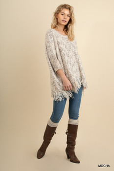 A9820 UMGEEBohemian Cowgirl Chunky Knit Sweater With Frayed Edges Mocha
