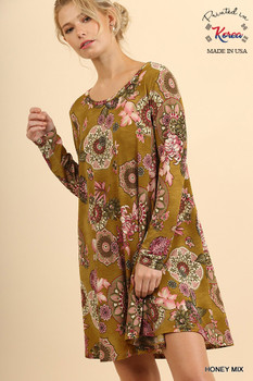 T6052 UMGEE Bohemian Cowgirl Long Sleeve Floral Print Dress with Round Neck Honey Mix