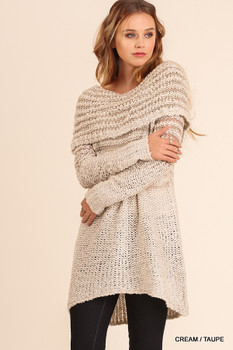 U0036 UMGEE Bohemian Cowgirl Off Shoulder Knit Dress Cream/Taupe