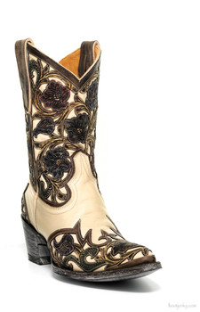 L2408-5 OLD GRINGO ABELINA BONE / MULTI FLORAL HAND TOOLED WESTERN BOOTS