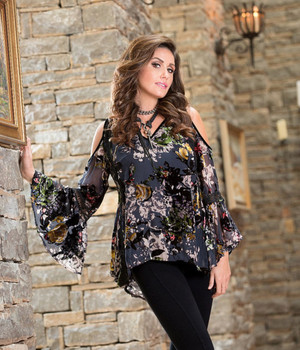 29. BRONTE COLLECTION HALO MULTI PRINT COLD SHOULDER ROMANTIC TOP