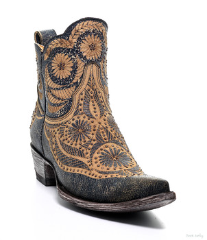 L2775-7 OLD GRINGO VALENTINE DION CRACKLED BLUE BEIGE  ANKLE BOOTS