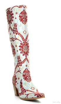Rockwell Tharp Bora Bora Aqua Turquoise Red Knee High Boots