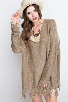 ET7909 Easel DISTRESSED LOOSE FIT SWEATER Olive