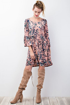 ED3727-1 Easel FLORAL PRINTED VELVET DRESS with Bell Sleeves Mauve