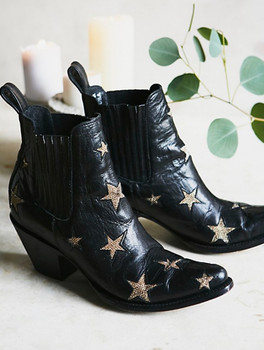 BL2406-1-LB MEXICANA  CIRCUS REACH FOR THE STARS JET BLACK GOLD METALLIC ANKLE BOOTS