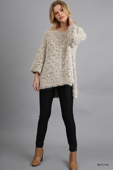 G1063 UMGEE 3/4 Sleeve Sweater with High Low Hemline Mocha