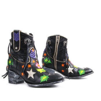 L2715-3 MEXICANA CHIYODA 7'' BLACK MULTI EMBROIDERED ANKLE BOOTS CUSTOM ORDER