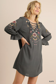 G0873 UMGEE  3/4 Sleeve Embroidered Dress with Elastic Ruffle Sleeves and Criss Cross String Detail