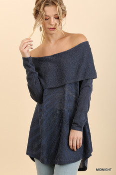 G0978 UMGEE Off Shoulder Fold-Over Glitter Sweater with a High Low Hem Midnight