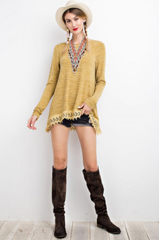 ET8084 Easel HACCI KNIT CROCHET TUNIC With Crochet Detail Mustard