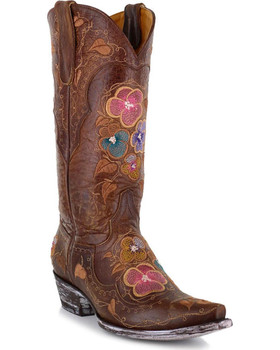 """L2621-2 OLD GRINGO PANSY VESUVIO BRASS 13"""" FLORAL WOMENS BOOTS"""