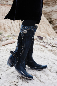 "DDL017-1 DOUBLE D RANCH RUSTY RAVINE JET BLACK FRINGE 15"" TALL BOOTS"
