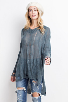 ET8620 Easel COZY SOFT KNIT V NECK DISTRESSED SWEATER TUNIC Teal