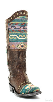 "L1639-3 OLD GRINGO MARICO 13"" RAZZ BRASS / TURQUOISE COWGIRL BOOTS"