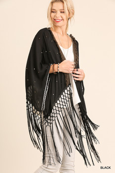 C0059 UMGEE Fringe Kimono With Fly away Sleeve and Sequin Black