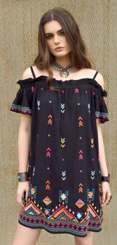 Double D Ranchwear Rainbow Weaver Black Embroidered Dress
