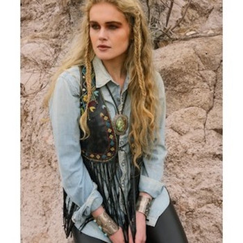 Double D Ranchwear Paco Leather Embroidered Vest