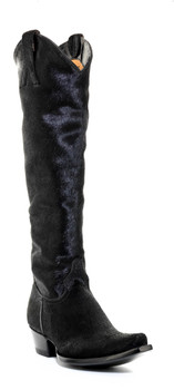 """L1299-2 OLD GRINGO 18"""" MAYRA BLACK HAIR ON HYDE COWGIRL BOOTS (SNIP TOE / 9964 HEEL)"""