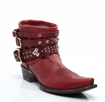 YL041-1-SS YIPPEE KI YAY BY OLD GRINGO RODEO RED COWGIRL ANKLE BOOTS