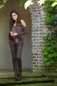 BRONTE BRAELYN CHOCOLATE LACE ROMANTIC TUNIC TOP