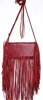 Kuero Handmade Sol Red Leather Fringe Handbag...BootJunky Exclusive