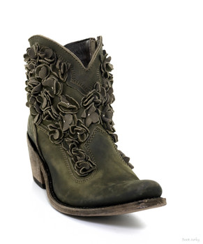 LB711549G Liberty Black Carolina Military Green Floral Ankle Boots