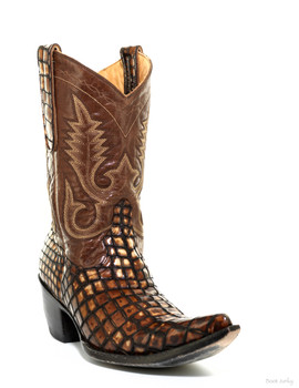 "L 175-244 Old Gringo Nevada 10"" Alligator Print Brown Leather Cowgirl Boots"