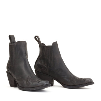 BL2497-2-LB Mexicana  Boots Gaucho Long Stitch Black Rancheiro Ankle Boots